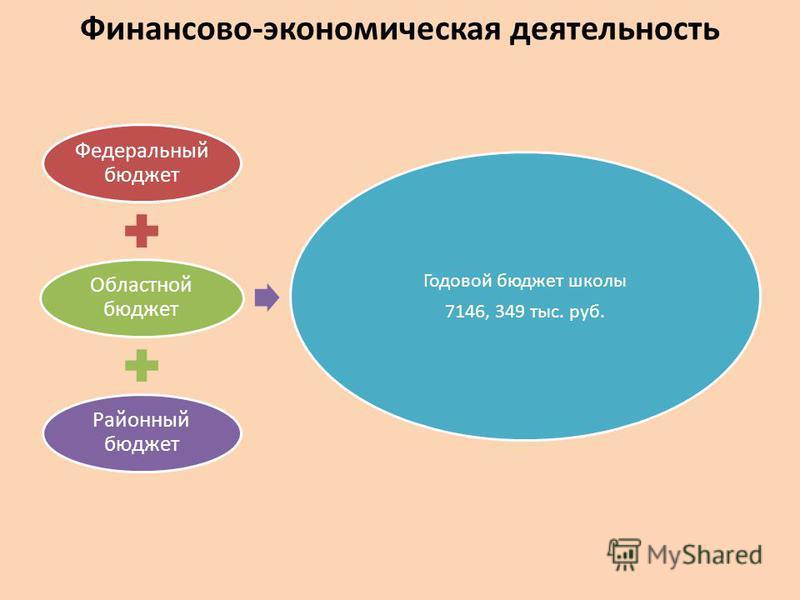 Финансово-экономическая деятельность Федеральный бюджет Областной бюджет Районный бюджет Годовой бюджет школы 7146, 349 тыс. руб.