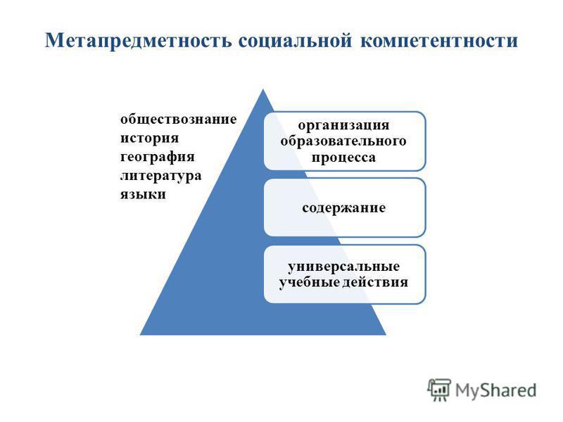 Метапредметность социальной компетентности организация образовательного процесса содержание универсальные учебные действия обществознание история география литература языки