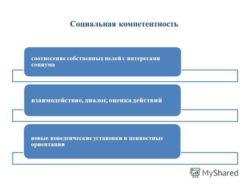 Социальная компетентность соотнесение собственных целей с интересами социума взаимодействие, диалог, оценка действий новые поведенческие установки и ценностные ориентации