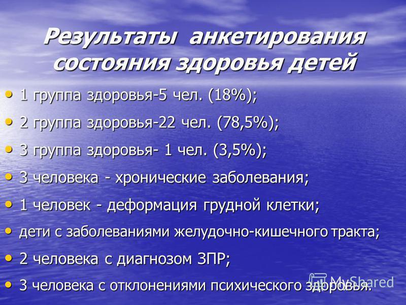 Результаты анкетирования состояния здоровья детей 1 группа здоровья-5 чел. (18%); 1 группа здоровья-5 чел. (18%); 2 группа здоровья-22 чел. (78,5%); 2 группа здоровья-22 чел. (78,5%); 3 группа здоровья- 1 чел. (3,5%); 3 группа здоровья- 1 чел. (3,5%)