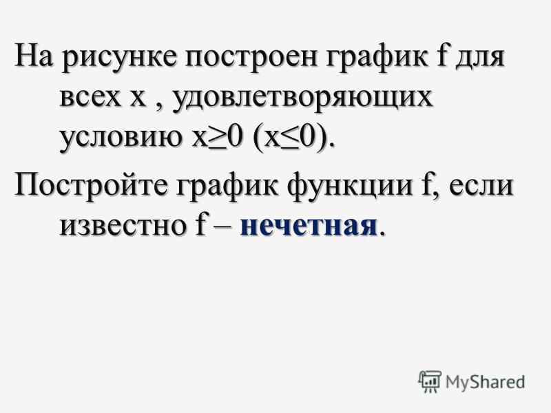 На рисунке построен график f для всех х, удовлетворяющих условию х 0 (х 0). Постройте график функции f, если известно f – нечетная.