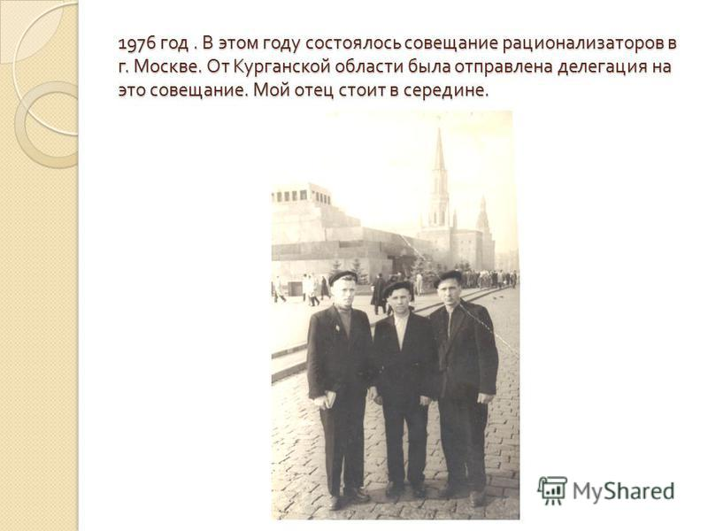 1976 год. В этом году состоялось совещание рационализаторов в г. Москве. От Курганской области была отправлена делегация на это совещание. Мой отец стоит в середине.