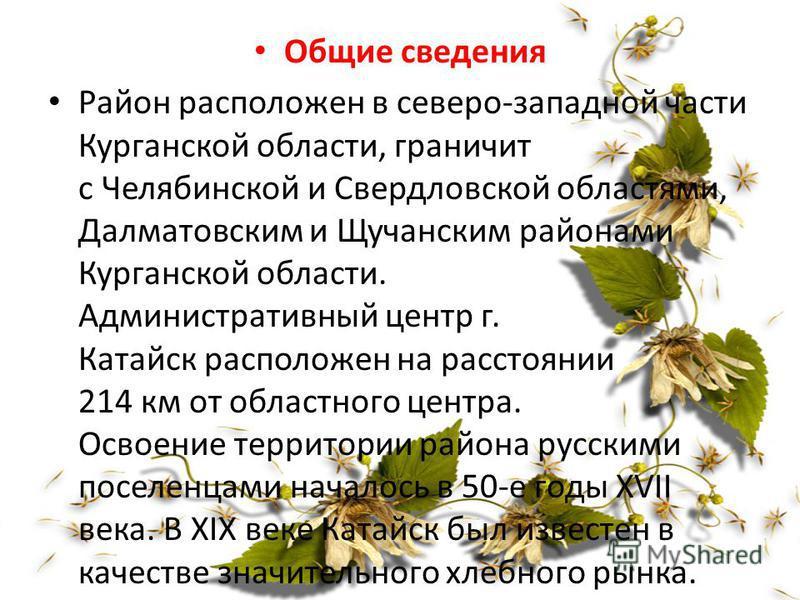Общие сведения Район расположен в северо-западной части Курганской области, граничит с Челябинской и Свердловской областями, Далматовским и Щучанским районами Курганской области. Административный центр г. Катайск расположен на расстоянии 214 км от об