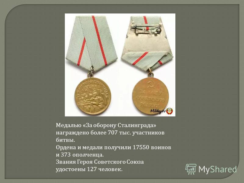 Медалью «За оборону Сталинграда» награждено более 707 тыс. участников битвы. Ордена и медали получили 17550 воинов и 373 ополченца. Звания Героя Советского Союза удостоены 127 человек.