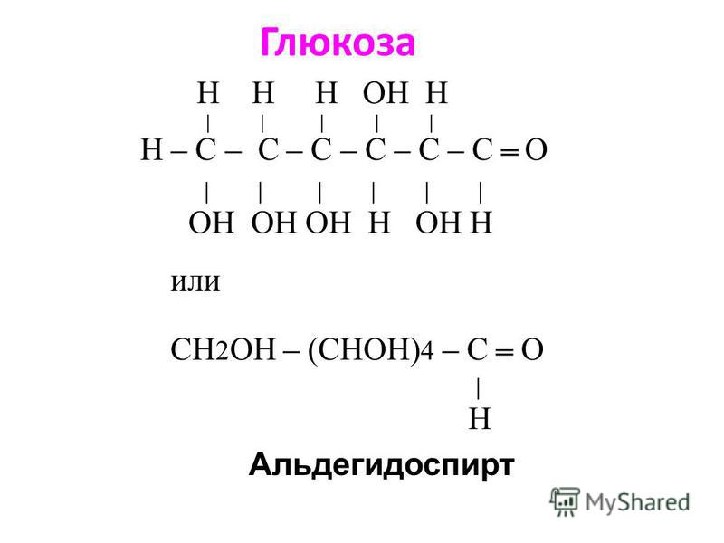 Глюкоза Н Н Н ОН Н | | | | | H – C – C – C – C – C – C О | | | | | | ОН ОН ОН Н ОН H Альдегидоспирт или CH 2 ОН – (CHОН) 4 – C О | H