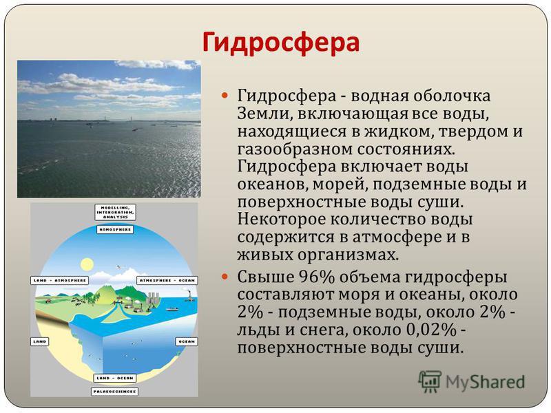 Гидросфера Гидросфера - водная оболочка Земли, включающая все воды, находящиеся в жидком, твердом и газообразном состояниях. Гидросфера включает воды океанов, морей, подземные воды и поверхностные воды суши. Некоторое количество воды содержится в атм