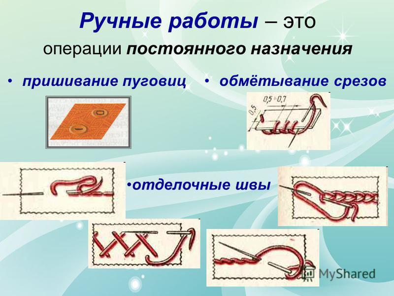 Ручные работы – это операции постоянного назначения пришивание пуговицобмётывание срезов отделочные швы