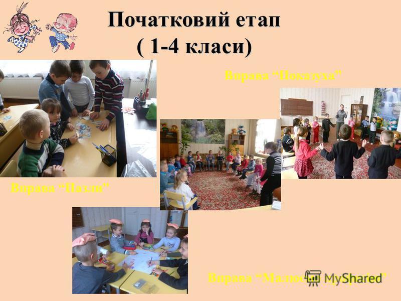 Початковий етап ( 1-4 класи) Вправа Показуха Вправа Пазли Вправа Малюємо професію