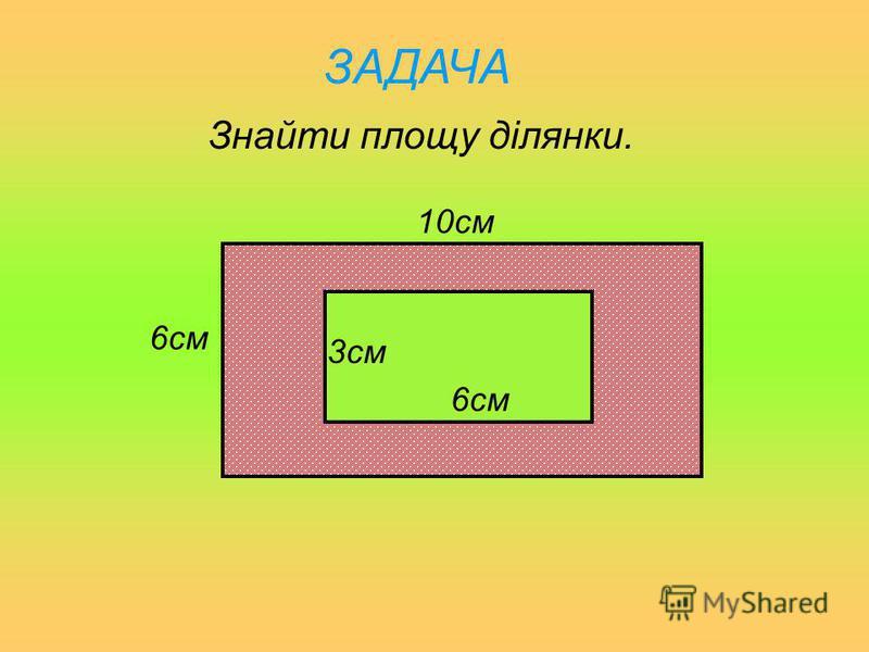 ЗАДАЧА Знайти площу ділянки. 9м6м 4м 2м
