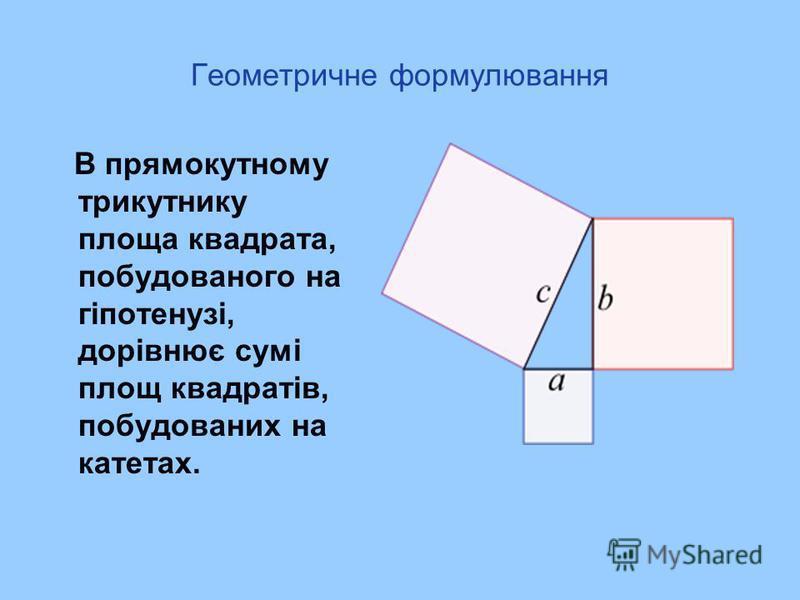 Геометричне формулювання В прямокутному трикутнику площа квадрата, побудованого на гіпотенузі, дорівнює сумі площ квадратів, побудованих на катетах.