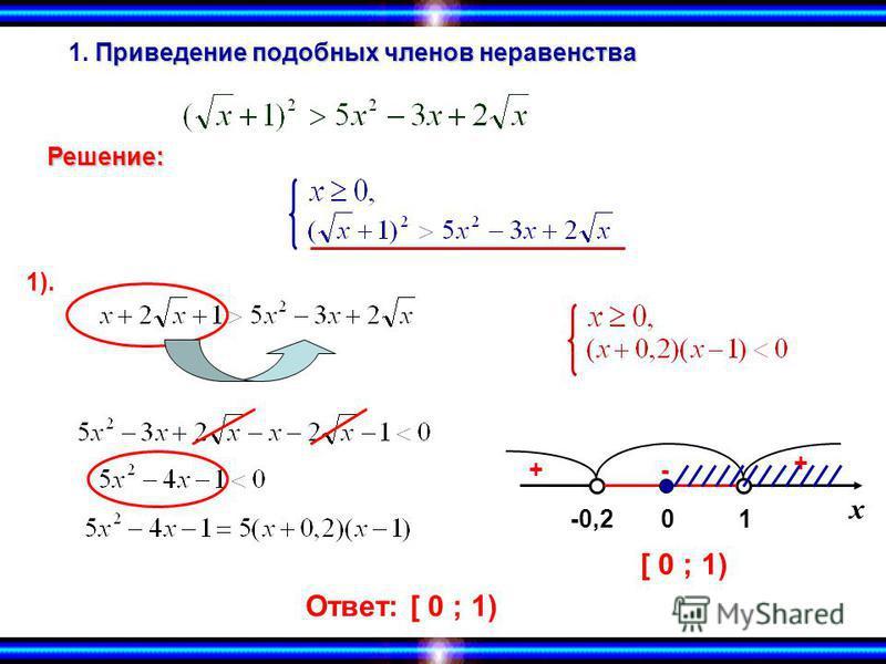 Приведение подобных членов неравенства 1. Приведение подобных членов неравенства Решение: х -0,21 + -+ 0 [ 0 ; 1) Ответ:[ 0 ; 1) 1).