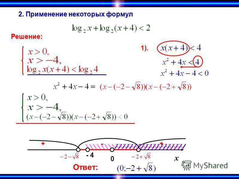2. Применение некоторых формул х Решение: 1). +-+ 0 - 4 Ответ: