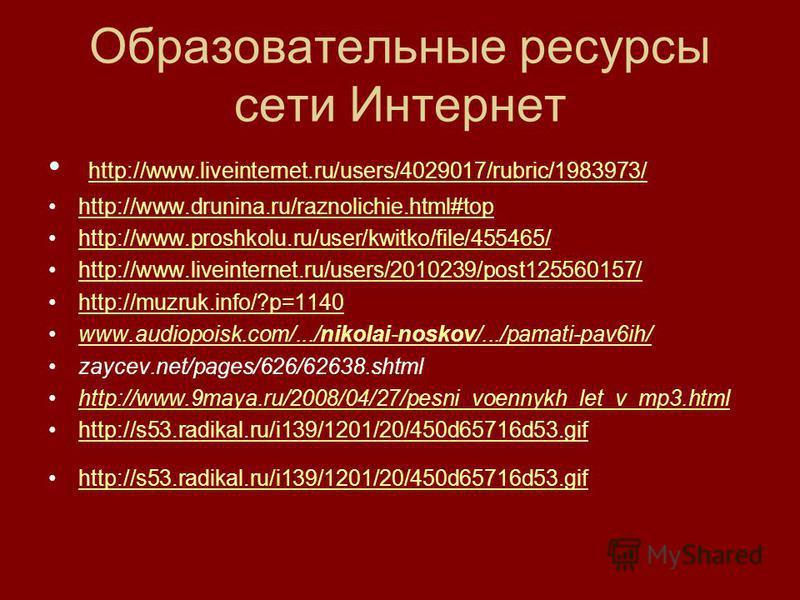 Образовательные ресурсы сети Интернет http://www.liveinternet.ru/users/4029017/rubric/1983973/ http://www.drunina.ru/raznolichie.html#top http://www.proshkolu.ru/user/kwitko/file/455465/ http://www.liveinternet.ru/users/2010239/post125560157/ http://