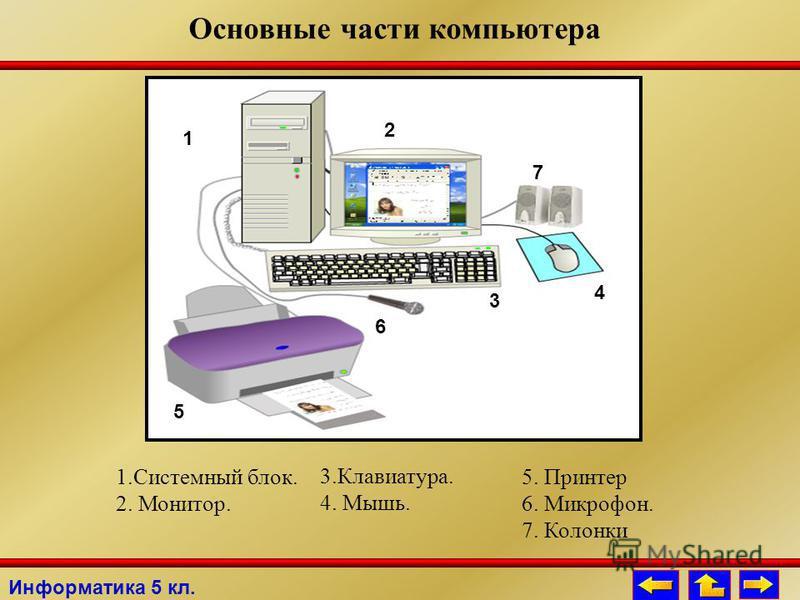 Основные части компьютера 1. Системный блок. 2. Монитор. 1 2 3 4 5 6 7 5. Принтер 6. Микрофон. 7. Колонки 3.Клавиатура. 4. Мышь. Информатика 5 кл.