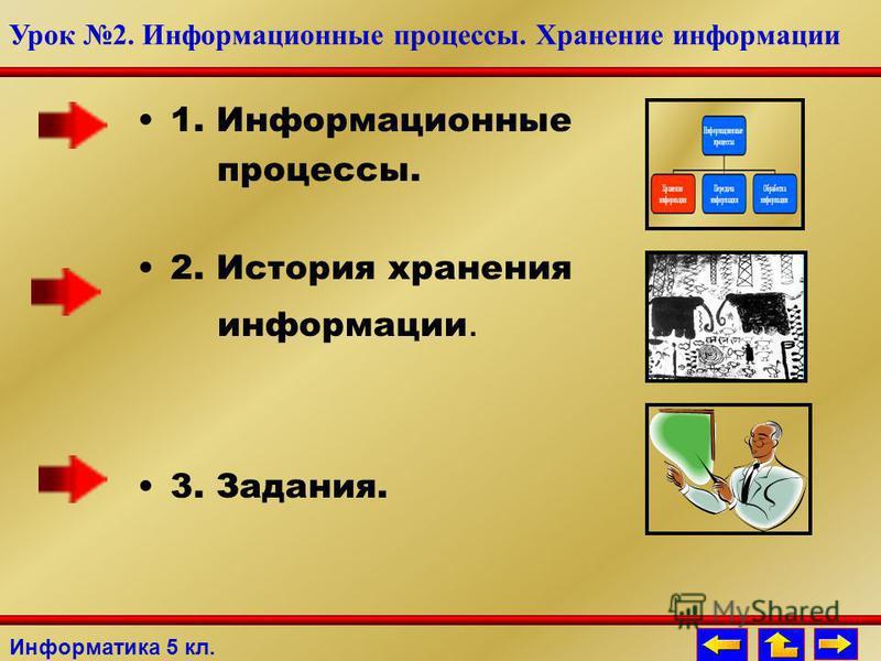 1. Информационные процессы. 2. История хранения информации. 3. Задания. Информатика 5 кл. Урок 2. Информационные процессы. Хранение информации
