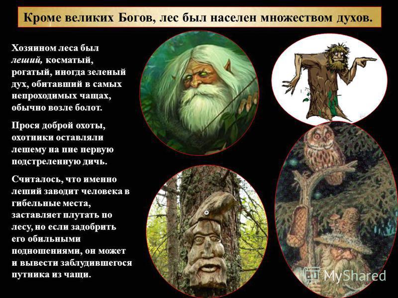 Кроме великих Богов, лес был населен множеством духов. Хозяином леса был леший, косматый, рогатый, иногда зеленый дух, обитавший в самых непроходимых чащах, обычно возле болот. Прося доброй охоты, охотники оставляли лешему на пне первую подстреленную