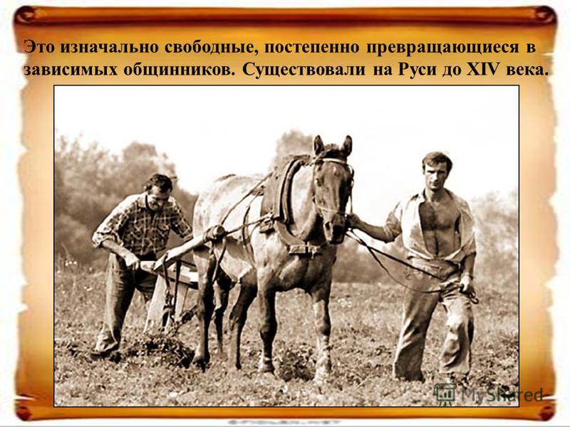Это изначально свободные, постепенно превращающиеся в зависимых общинников. Существовали на Руси до XIV века.