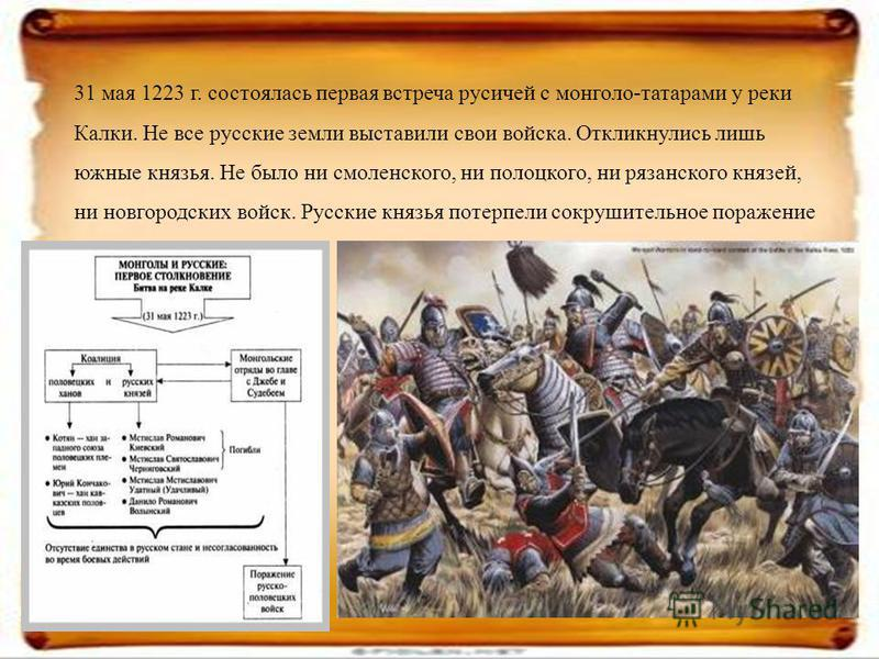 31 мая 1223 г. состоялась первая встреча русичей с монголо-татарами у реки Калки. Не все русские земли выставили свои войска. Откликнулись лишь южные князья. Не было ни смоленского, ни полоцкого, ни рязанского князей, ни новгородских войск. Русские к