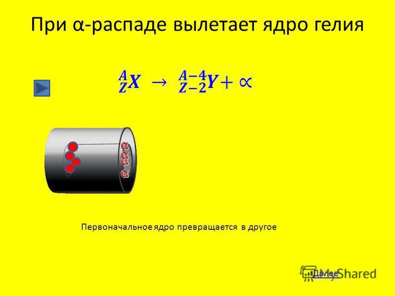 При α-распаде вылетает ядро гелия Далее Первоначальное ядро превращается в другое