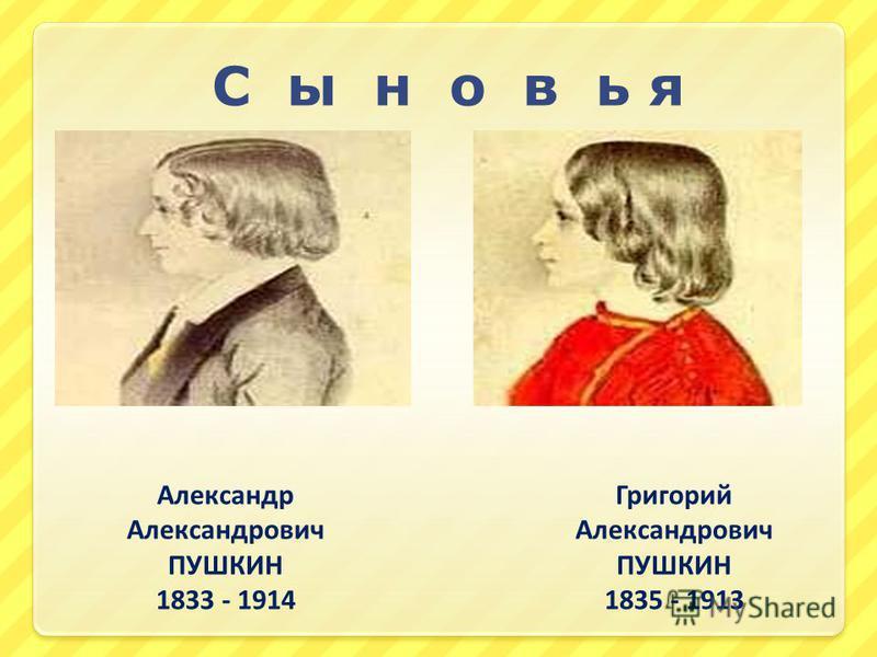 С ы н о в ь я Александр Александрович ПУШКИН 1833 - 1914 Григорий Александрович ПУШКИН 1835 - 1913