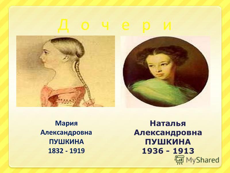 Д о ч е р и Мария Александровна ПУШКИНА 1832 - 1919 Наталья Александровна ПУШКИНА 1936 - 1913