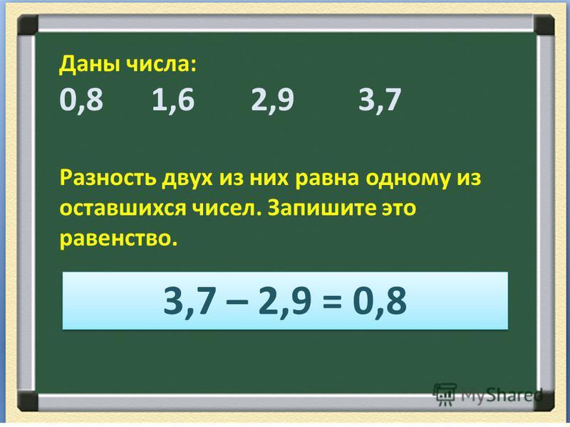 Даны числа: 0,8 1,6 2,9 3,7 Разность двух из них равна одному из оставшихся чисел. Запишите это равенство. 3,7 – 2,9 = 0,8