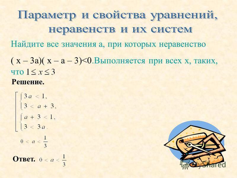 Найдите все значения а, при которых неравенство ( x – 3 а)( х – а – 3)<0. Выполняется при всех х, таких, что Решение. Ответ.
