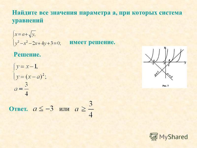Найдите все значения параметра а, при которых система уравнений имеет решение. Решение. Ответ. или