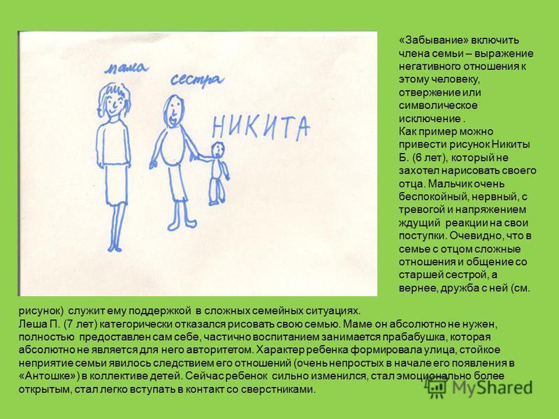 «Забывание» включить члена семьи – выражение негативного отношения к этому человеку, отвержение или символическое исключение. Как пример можно привести рисунок Никиты Б. (6 лет), который не захотел нарисовать своего отца. Мальчик очень беспокойный, н