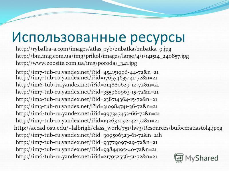 Использованные ресурсы http://rybalka-a.com/images/atlas_ryb/zubatka/zubatka_9. jpg http://bm.img.com.ua/img/prikol/images/large/4/1/141514_240857. jpg http://www.zoosite.com.ua/img/poroda/_341. jpg http://im7-tub-ru.yandex.net/i?id=93844195-40-72&n=