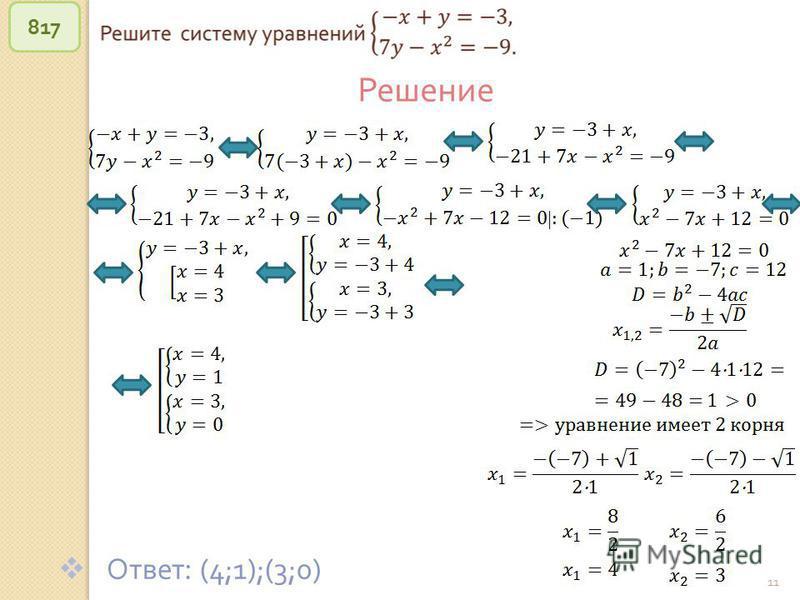 © Рыжова С. А. 11 817 Решение Ответ : (4;1);(3;0)