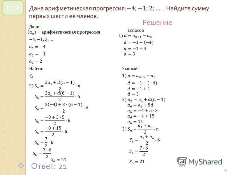 © Рыжова С. А. 15 1276 Решение Ответ : 21