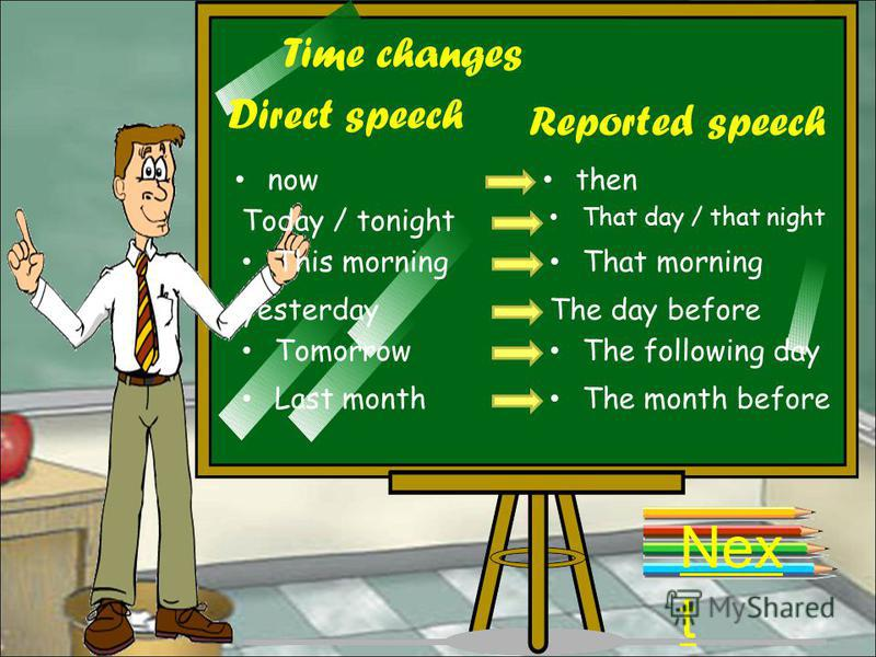 Place changes Direct speech Reported speech herethere This place That place Nex t