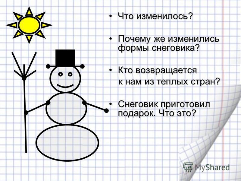 Что изменилось? Почему же изменились формы снеговика? Кто возвращается к нам из теплых стран? Снеговик приготовил подарок. Что это?