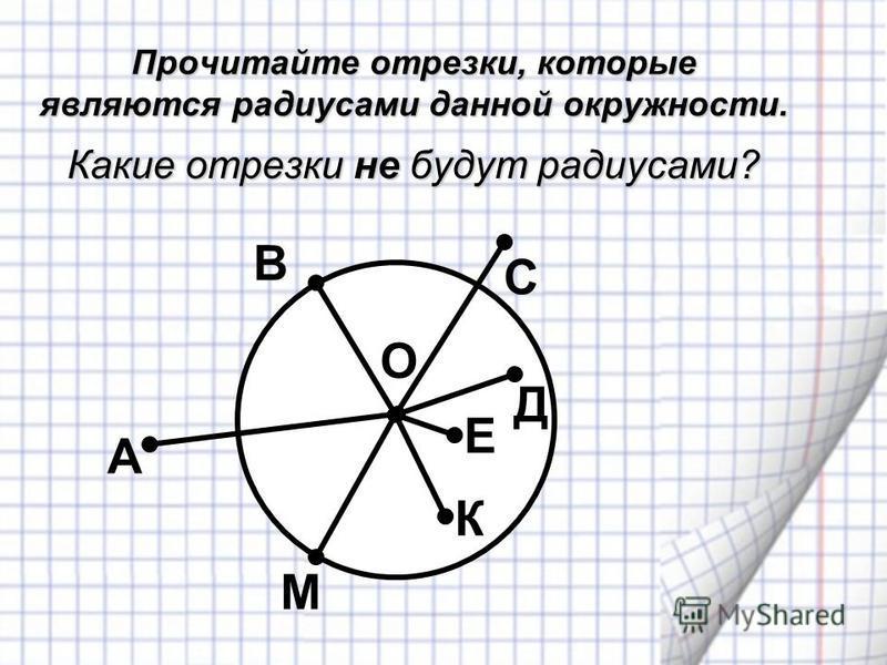Прочитайте отрезки, которые являются радиусами данной окружности. С А М К Е Д В О Какие отрезки не будут радиусами?