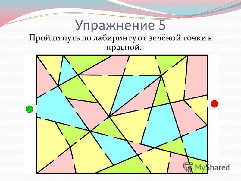 Упражнение 5 Пройди путь по лабиринту от зелёной точки к красной.