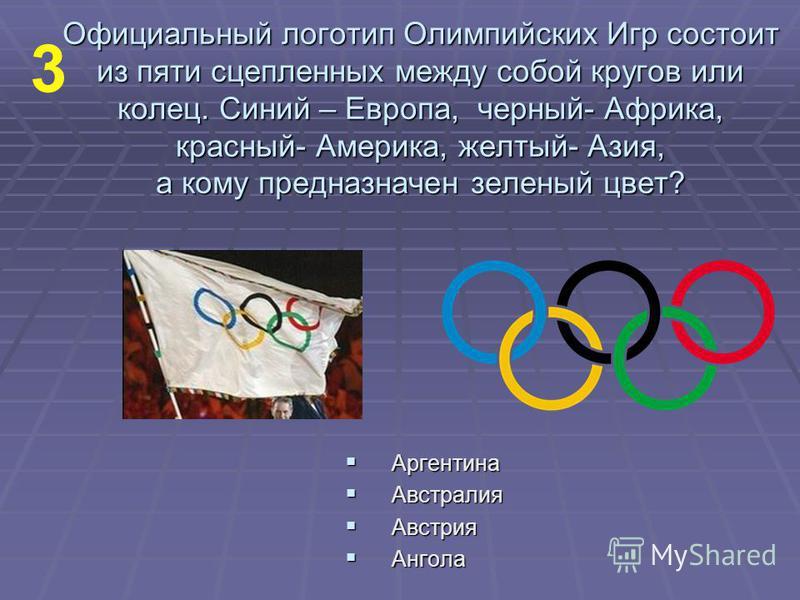 Официальный логотип Олимпийских Игр состоит из пяти сцепленных между собой кругов или колец. Синий – Европа, черный- Африка, красный- Америка, желтый- Азия, а кому предназначен зеленый цвет? Аргентина Аргентина Австралия Австралия Австрия Австрия Анг