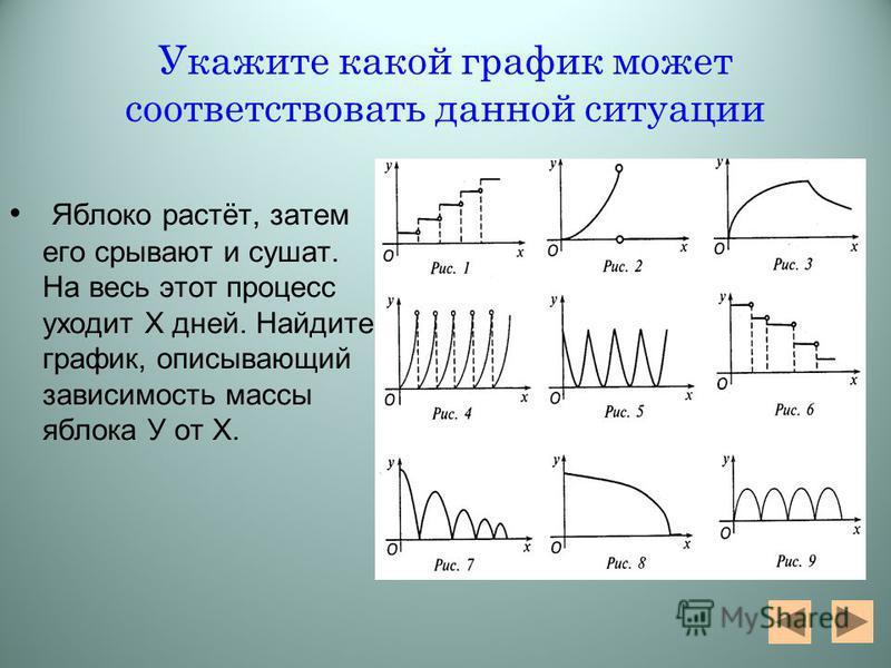 Укажите какой график может соответствовать данной ситуации Яблоко растёт, затем его срывают и сушат. На весь этот процесс уходит Х дней. Найдите график, описывающий зависимость массы яблока У от Х.