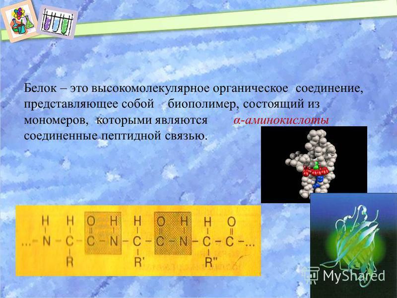 Белок – это высокомолекулярное органическое соединение, представляющее собой биополимер, состоящий из мономеров, которыми являются α-аминокислоты соединенные пептидной связью.