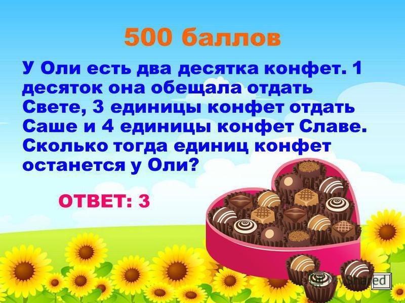 500 баллов У Оли есть два десятка конфет. 1 десяток она обещала отдать Свете, 3 единицы конфет отдать Саше и 4 единицы конфет Славе. Сколько тогда единиц конфет останется у Оли?