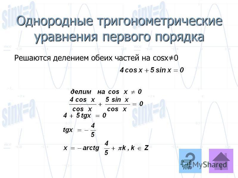 Однородные тригонометрические уравнения первого порядка Решаются делением обеих частей на cosx0