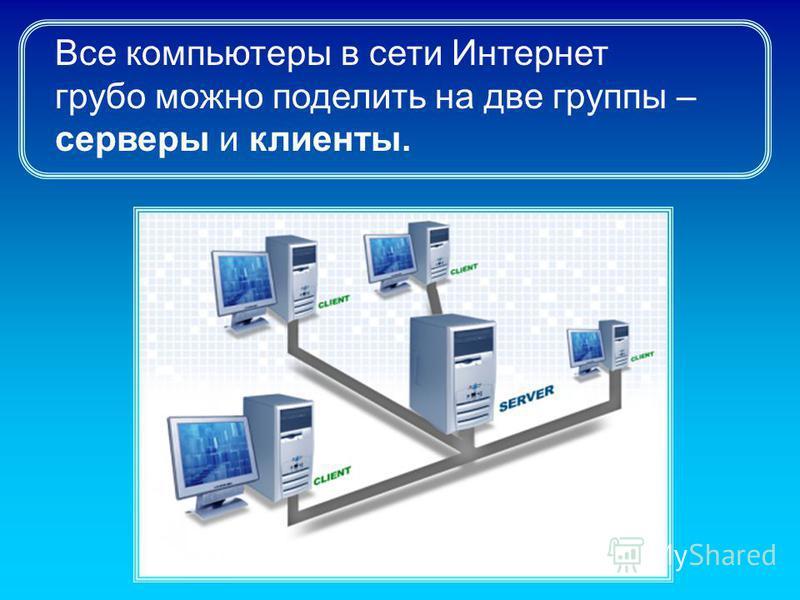 Все компьютеры в сети Интернет грубо можно поделить на две группы – серверы и клиенты.
