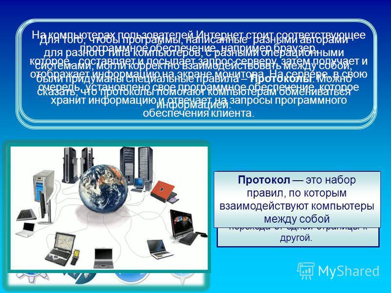 На компьютерах пользователей Интернет стоит соответствующее программное обеспечение, например браузер, которое, составляет и посылает запрос серверу, затем получает и отображает информацию на экране монитора. На сервере, в свою очередь, установлено с