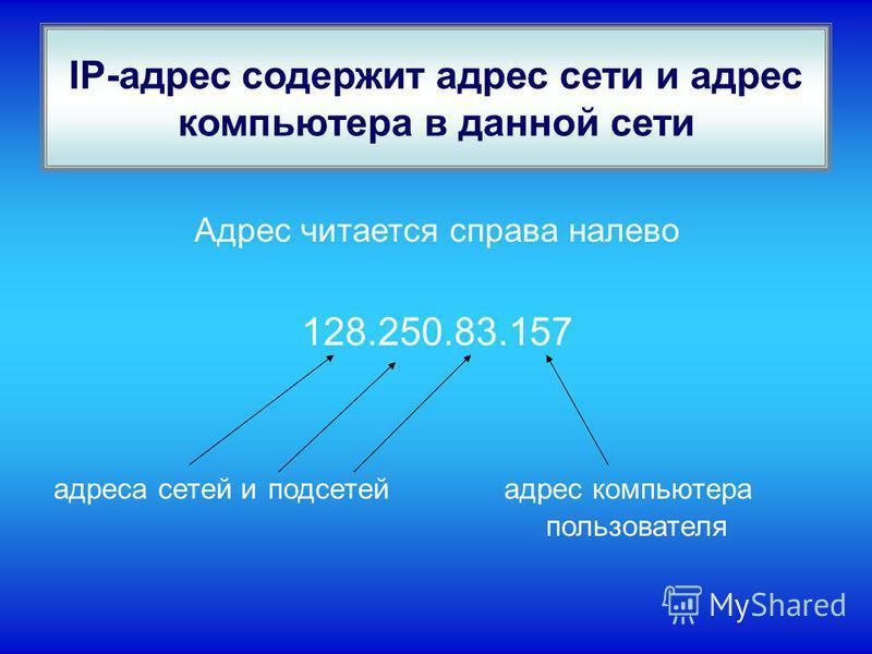 IP-адрес содержит адрес сети и адрес компьютера в данной сети Адрес читается справа налево 128.250.83.157 адреса сетей и подсетей адрес компьютера пользователя