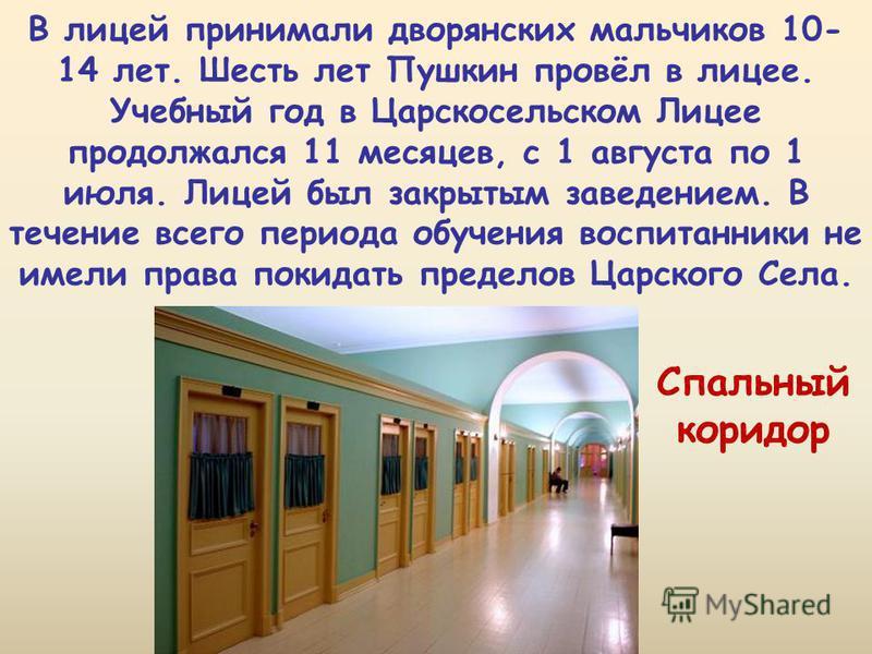 В лицей принимали дворянских мальчиков 10- 14 лет. Шесть лет Пушкин провёл в лицее. Учебный год в Царскосельском Лицее продолжался 11 месяцев, с 1 августа по 1 июля. Лицей был закрытым заведением. В течение всего периода обучения воспитанники не имел