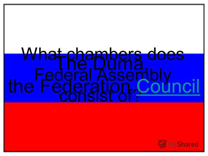 What chambers does Federal Assembly consist of? The Duma, the Federation CouncilCouncil