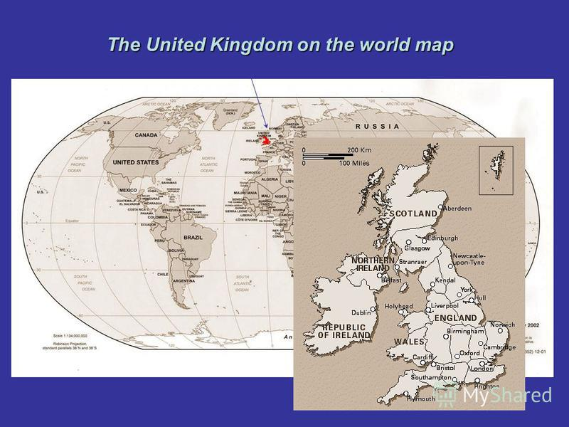 The United Kingdom on the world map