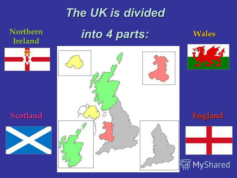 EnglandScotland Wales Northern Ireland The UK is divided into 4 parts: