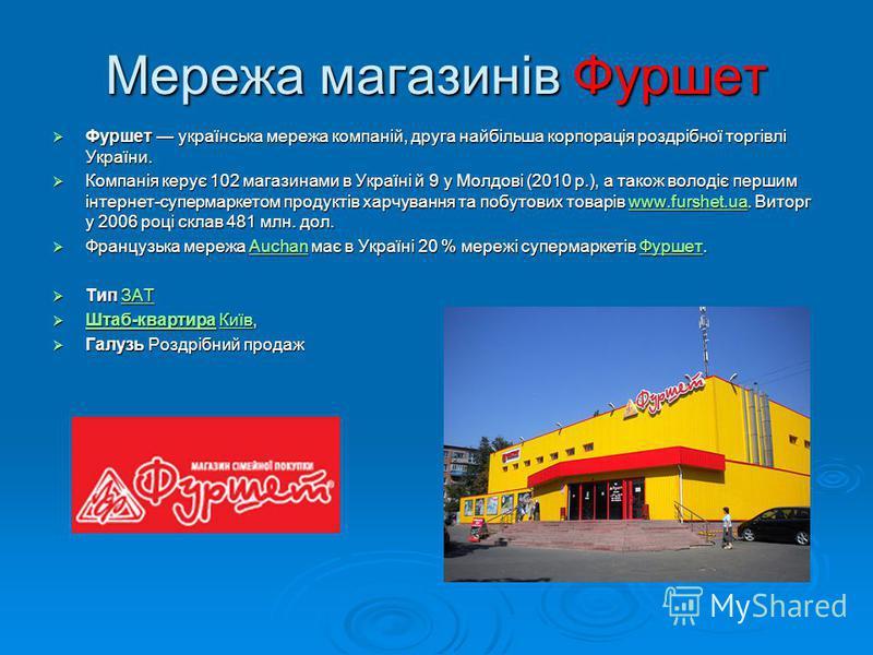 Мережа магазинів Фуршет Фуршет українська мережа компаній, друга найбільша корпорація роздрібної торгівлі України. Фуршет українська мережа компаній, друга найбільша корпорація роздрібної торгівлі України. Компанія керує 102 магазинами в Україні й 9