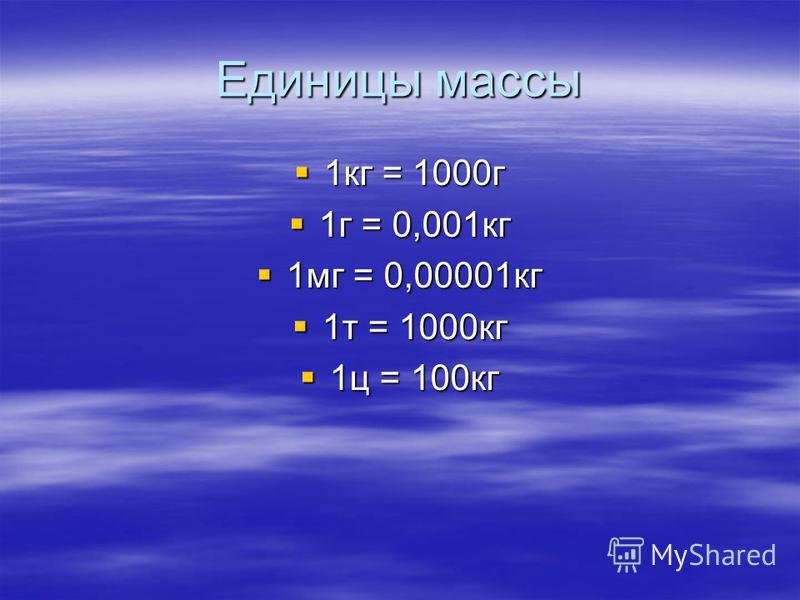 Единицы массы 1 кг = 1000 г 1 кг = 1000 г 1 г = 0,001 кг 1 г = 0,001 кг 1 мг = 0,00001 кг 1 мг = 0,00001 кг 1 т = 1000 кг 1 т = 1000 кг 1 ц = 100 кг 1 ц = 100 кг